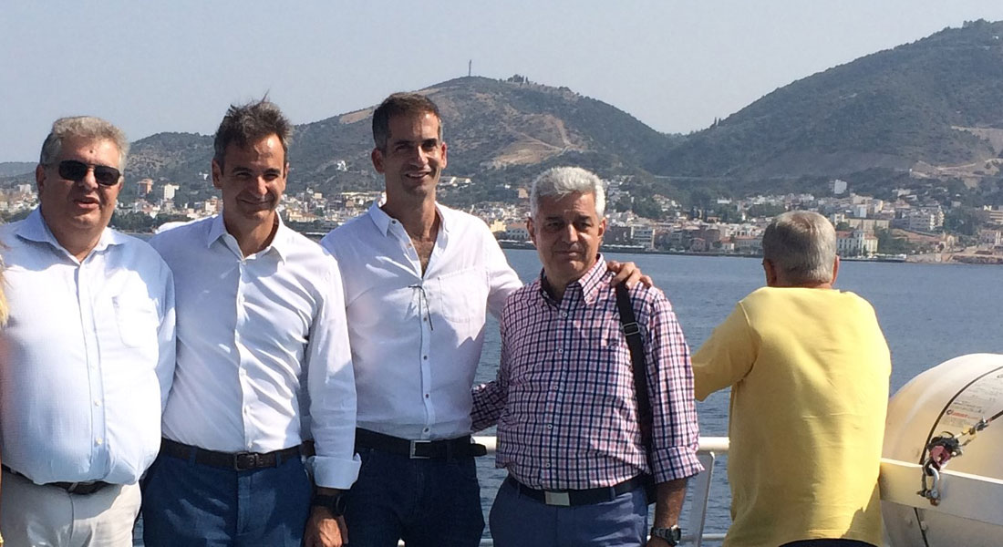 Ο Βασίλης Δεμερτζής, ο Κυριάκος Μητσοτάκης και ο Κώστας Μπακογιάννης καθοδόν για την Αιδηψό